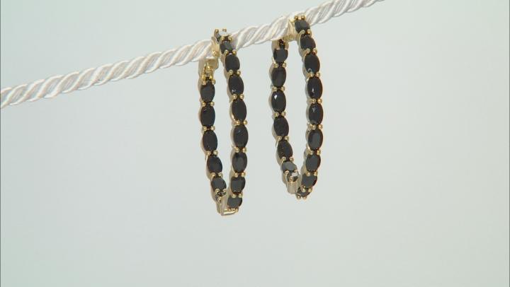 Black spinel 18k gold over silver earrings 8.16ctw
