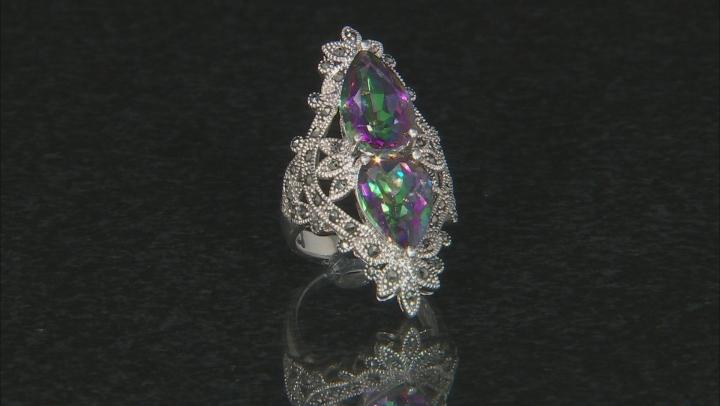 Multi-color quartz rhodium over sterling silver ring 7.04ctw