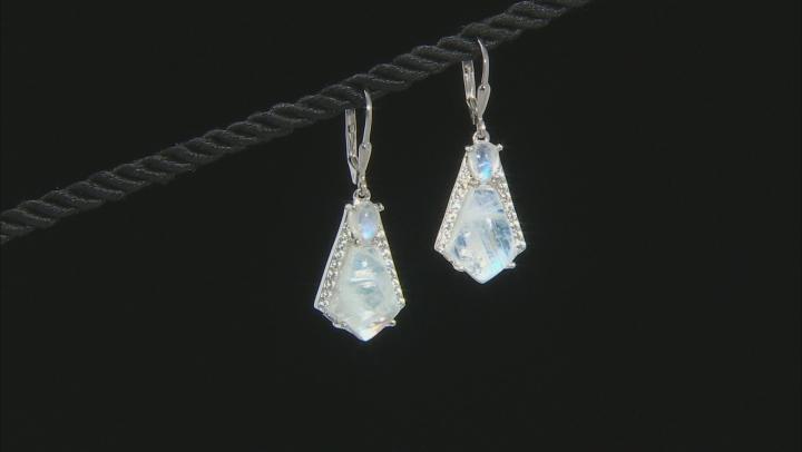White rainbow moonstone rhodium over silver earrings .76ctw