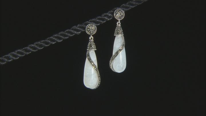 White rainbow moonstone rhodium over sterling silver earrings