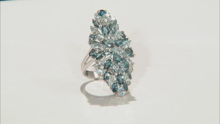 Blue topaz rhodium over silver ring 9.06ctw