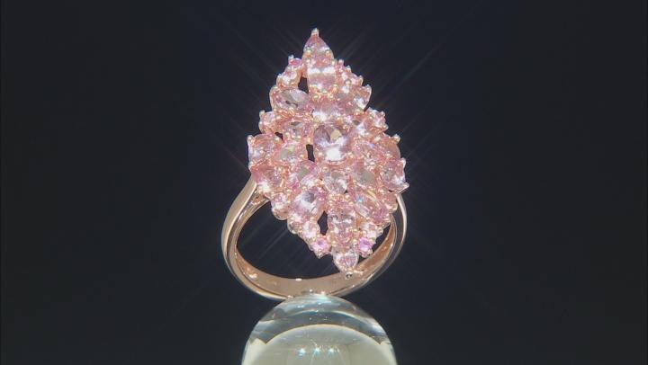 Pink color shift garnet 18k rose gold over silver ring 5.05ctw
