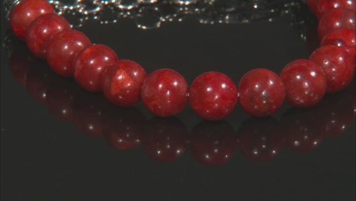 Red sponge coral rhodium over sterling silver bracelet