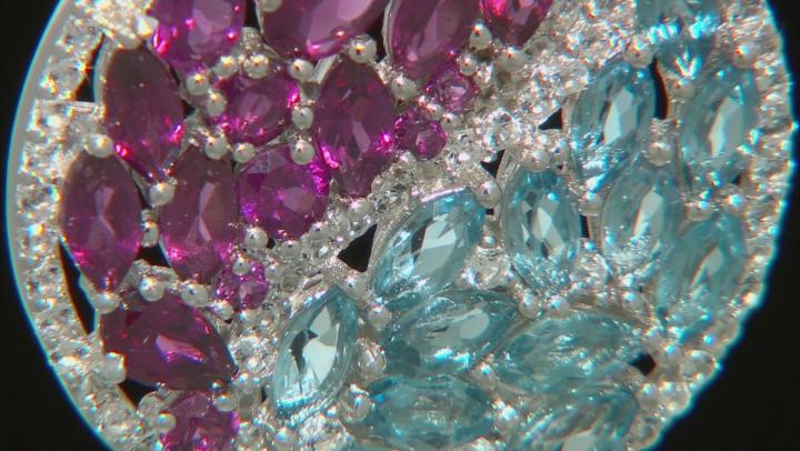 Purple raspberry color rhodolite rhodium over silver pendant with chain 4.39ctw