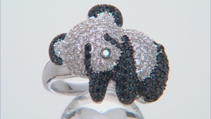 Black spinel Rhodium Over Sterling Silver Panda Ring