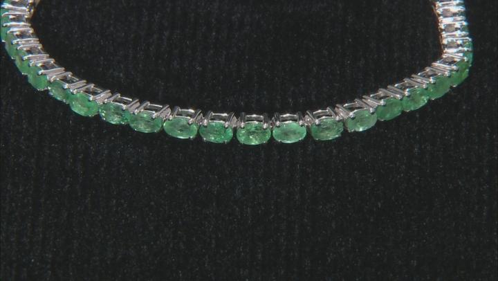 Green Emerald Rhodium Over Sterling Silver Bracelet 6.93ctw