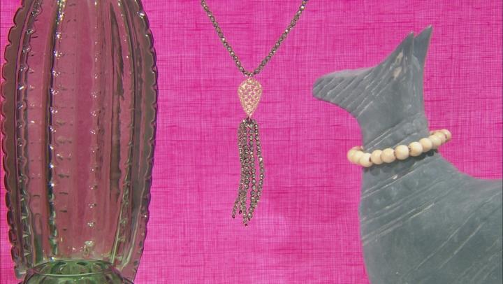 Green Pyrite Bead Tassel 10k Yellow Gold Necklace