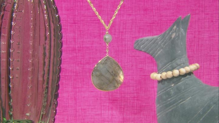 Gray Labradorite Drop 10k Gold Necklace