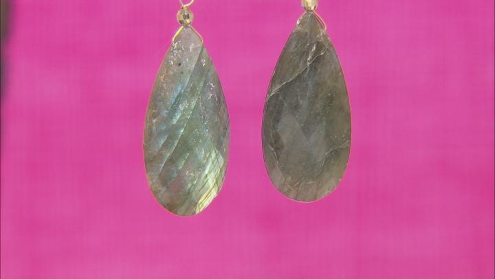 Green Labradorite 10k Gold Dangle Earrings