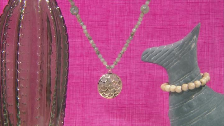 Gray Labradorite 10k Yellow Gold Necklace