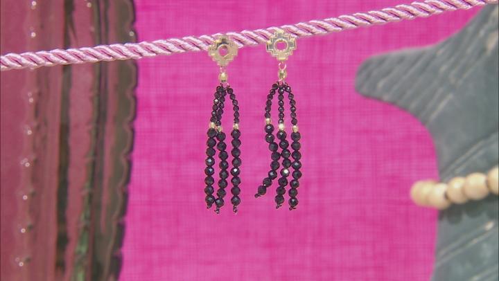Black Spinel 10k Yellow Gold Tassel Earrings 16.53ctw