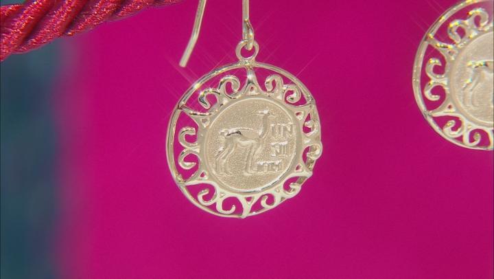 10k Yellow Gold Coin Design Dangle Earrings