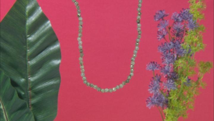 Gray Labradorite Bead Strand 10k Yellow Gold Necklace