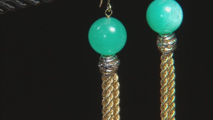 Artisan Collection Of Peru™ Teal Amazonite Bead 10k Yellow Gold Tassel Earrings
