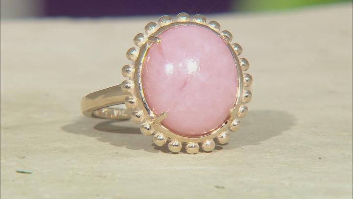 Pink Peruvian Opal 10k Yellow Gold Ring