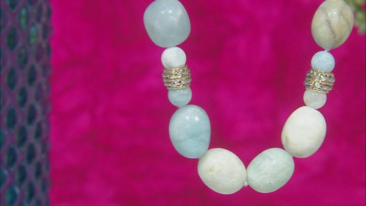 Blue Aquamarine Bead 10k Yellow Gold Necklace