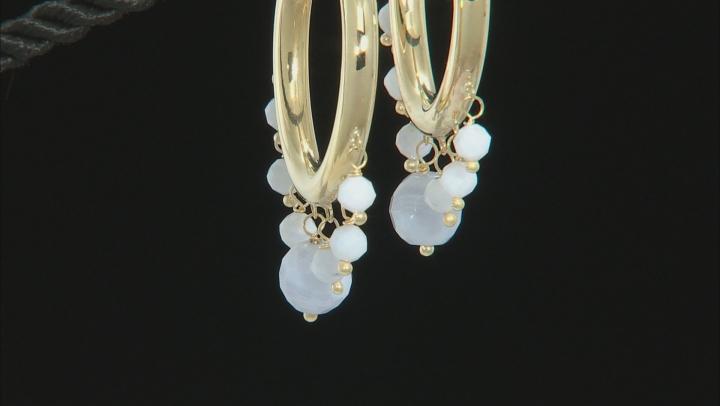 Blue Lace Agate Bead 10k Yellow Gold Hoop Earrings