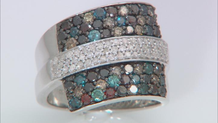 Multi-Colored Diamond Sterling Silver Ring 2.00ctw