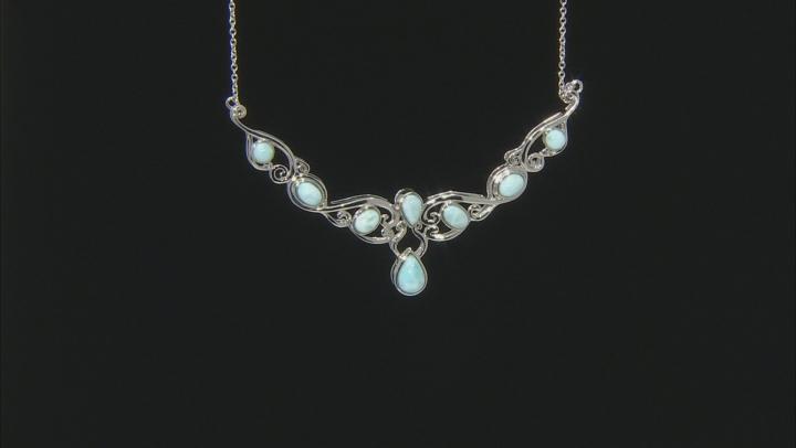 Blue Larimar Sterling Silver Adjustable Necklace