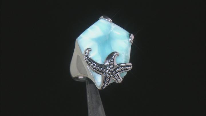 Blue Larimar Rhodium Over Sterling Silver Starfish Ring