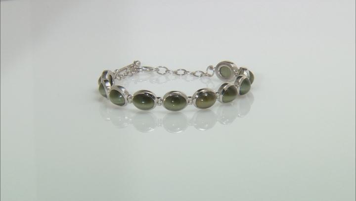Green Cats Eye Quartz Sterling Silver Bracelet