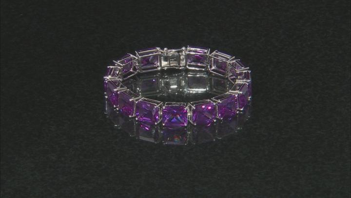 Purple Lab Created Color Change Sapphire Silver Tennis Bracelet 93.07ctw