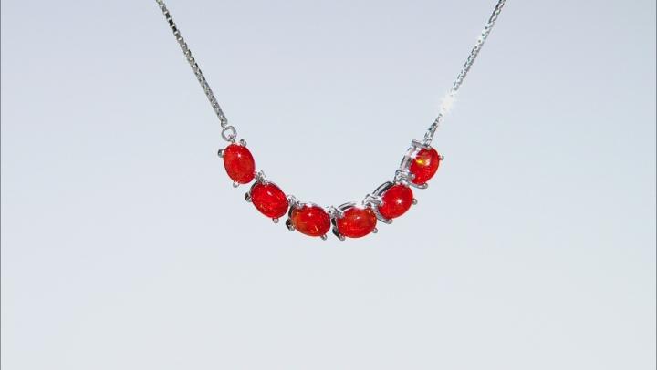 Orange Ethiopian Opal Sterling Silver Bolo Necklace 2.49ctw