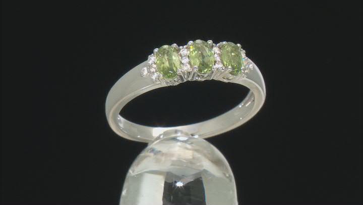 Green Demantoid Garnet Sterling Silver Ring .82ctw