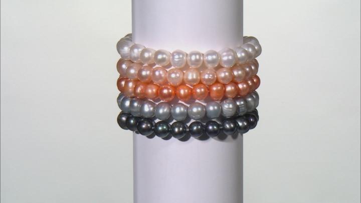 White Black Pink Orange Blue Green Brown Silver Pearl Stretch Bracelet Set Of 10