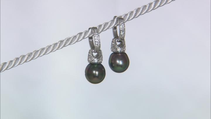 Cultured Tahitian Pearl, White Topaz Rhodium Over Silver Huggie Earring