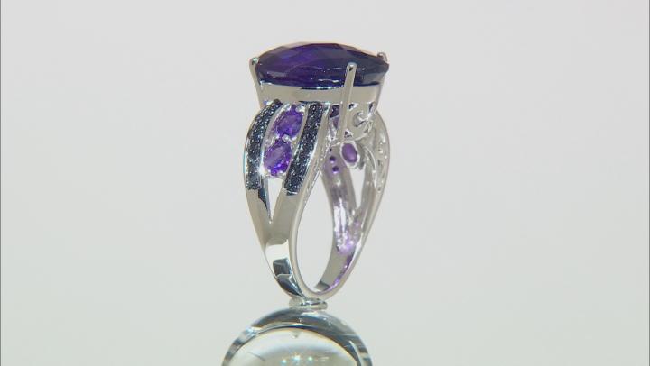 Purple Amethyst Sterling Silver Ring 7.76ctw
