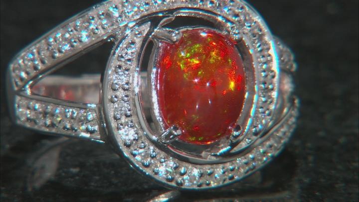 Orange Ethiopian Opal Sterling Silver Ring 1.50ctw