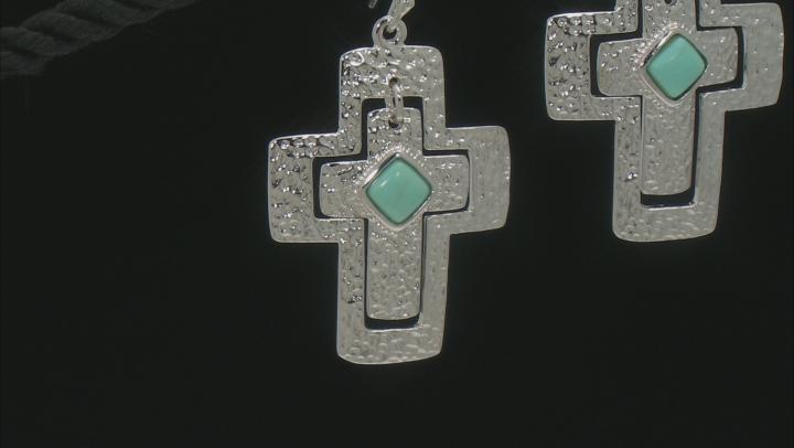 Blue Turquoise Sterling Silver Cross Earrings