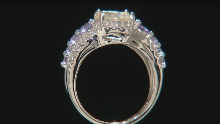 White Fabulite Strontium Titanate With Tanzanite And White Zircon Sterling Silver Ring 3.36ctw