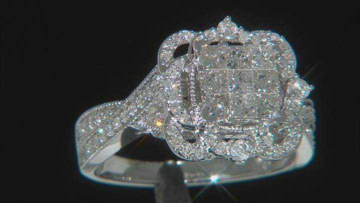 White Diamond 10k White Gold Ring .99ctw