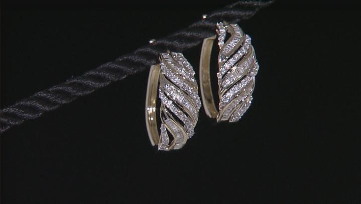 White Diamond 10k Yellow Gold Earrings 1.00ctw