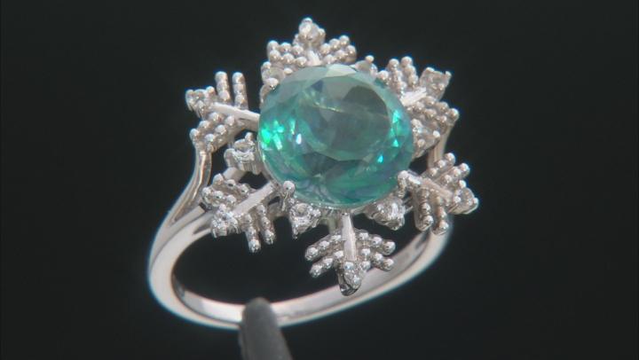 Blue Flora(TM) Mystic Quartz(R) silver ring 4.69ctw