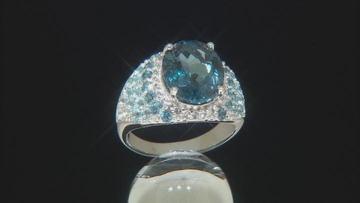 Blue topaz rhodium over silver ring 7.15ctw