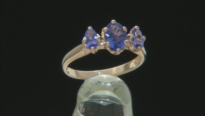 Blue Tanzanite 10k Yellow Gold 3-Stone Ring 1.05ctw