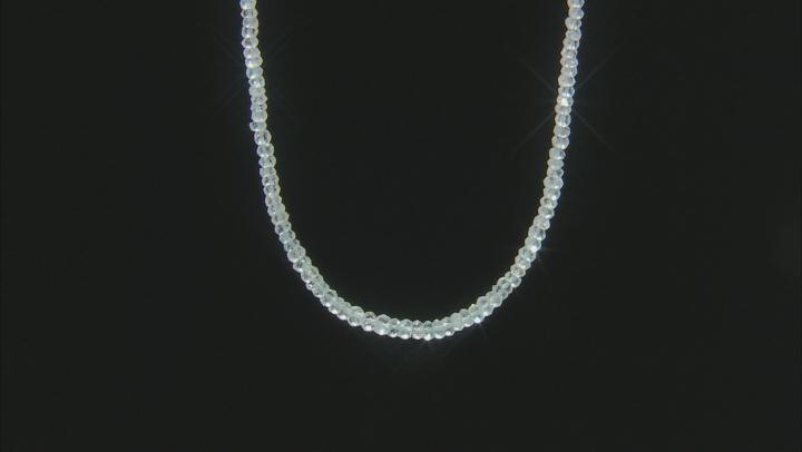 Blue Aquamarine Bead Strand 14k Yellow Gold Necklace