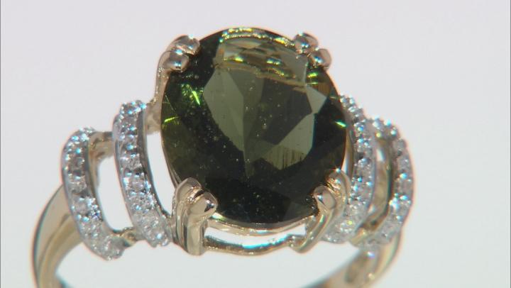 Green Moldavite 10k Yellow Gold Ring 3.17ctw