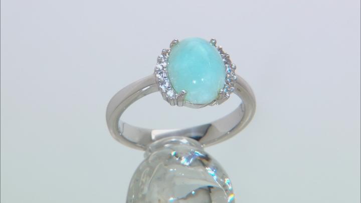 Blue Hemimorphite Sterling Silver Ring 2.89ctw