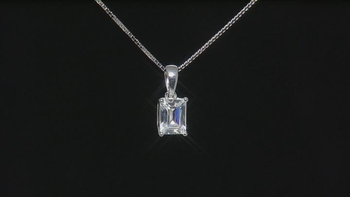 White Lab Created Yitrium Aluminum Garnet Silver Pendant With Chain 1.70ct