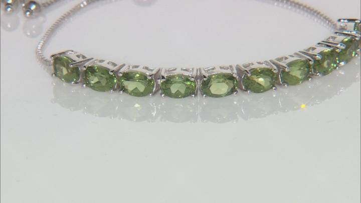 Green Apatite Sterling Silver Sliding Adjustable Bracelet 6.37ctw