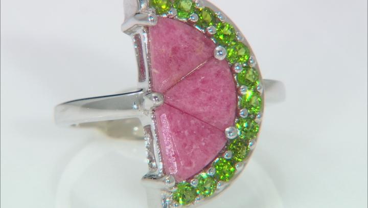 Red Rhodonite Rhodium Over Sterling Silver Watermelon Half Ring 3.44ctw
