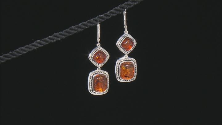 Orange Polish amber sterling silver 2-stone earrings