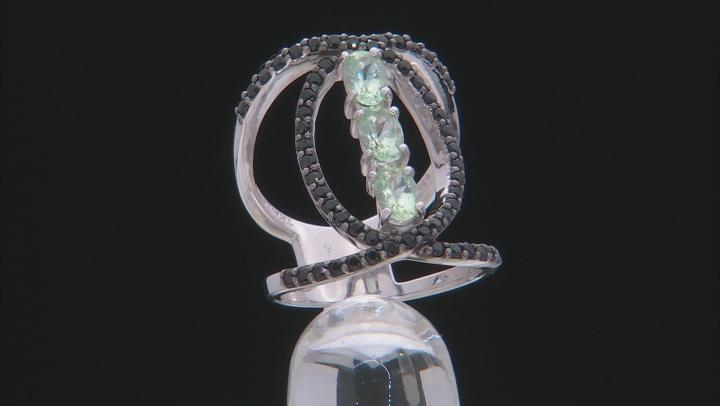 Blue Brazilian Amblygonite Sterling Silver 3-Stone Ring 1.68ctw