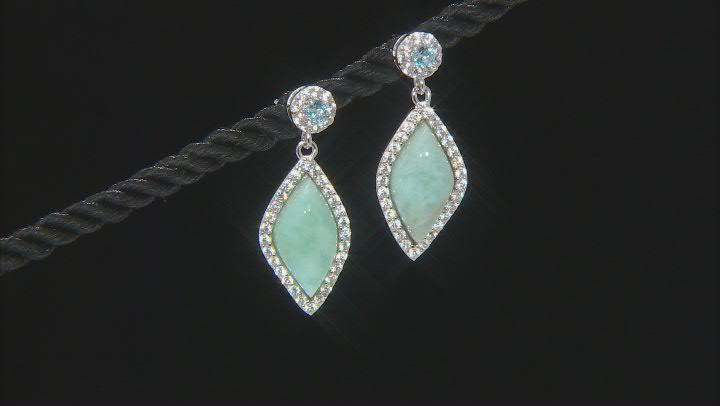 Blue Larimar Sterling Silver Dangle Earrings .37ctw