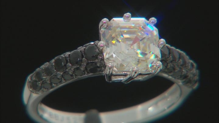White Fabulite Strontium Titanate Rhodium Over Sterling Silver Ring 3.18ctw