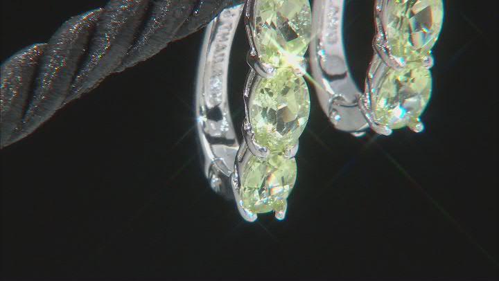 Green Brazilian Amblygonite Sterling Silver Hoop Earrings 2.72ctw